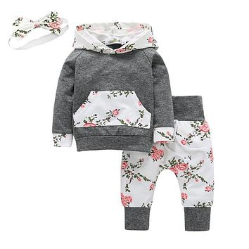 3Pcs Toddler Baby Girl Clothes Long Sleeve Flowers Kangaroo Pocket Hoodie Top and Pants Outfit with Headband Infant Clothing Set