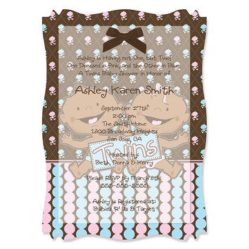 Twin Modern Babies 1 Boy & 1 Girl African American - Personalized Baby Shower Vellum Overlay Invitations
