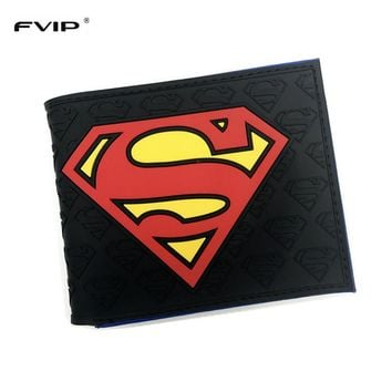 FVIP Anime Wallets New Designer Superman Batman Star Wars Wallet Young Boy Girls Purse Small Money Bag