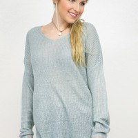 Lightweight V- Neck Pullover Top