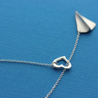 One Direction to my Heart Necklace . Airplane Necklace . Harry Styles Paper Airplane Necklace. Heart necklace . Original desing By MonyArt