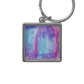 Sun Shower Silver-Colored Square Keychain