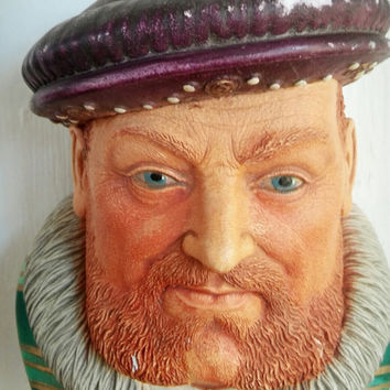 Vintage Chalkware King Henry VIII Wall Bust, Legend England Chalkware Décor, Vintage England Plaster Wall Bust