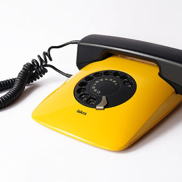 ISKRA ETA 80 82 Telephone Yugoslavia Vintage 1987 Rotary Retro Device 80s Electronic Davorin Savnik Design MOMA Yellow Phone Awards