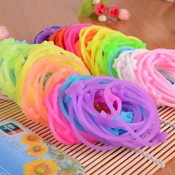 10pcs/lot Sweet Candy Cute Star Silicone Hair Rubber Bands Bracelets Night Luminous And Solid Color Style Girl Women Gift Mixed