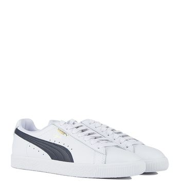 Puma Clyde Core Sneaker in White Navy
