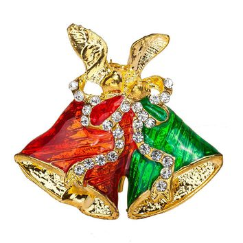 Christmas bells Brooch 2017 new Fashion Chain Jewelry Christmas Bells Rhinestone Brooch