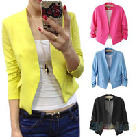 2013 Fashion Women's Korea Style Candy Color Solid Slim Suit Blazer Coat Jacket Outcoat Outerwear  0K5X