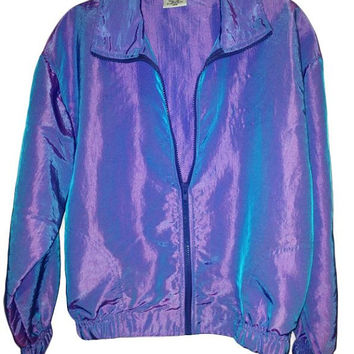 80s Purple and Blue Iridescent Windbreaker Jacket