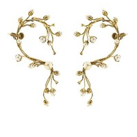 Stratosphere faux-pearl & crystal ear cuffs