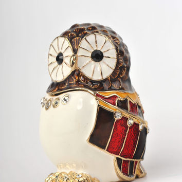 Colorful Owl Bird Faberge Styled Trinket Box by Keren Kopal Handmade with Swarovski Crystals Gold plated