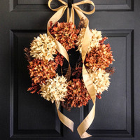 Fall Wreath - Elegant Autumn Entryway Wreath - Hydrangea Berry Wreath - Fall Porch Decor - Thanksgiving Decoration - Fall Wreaths Etsy