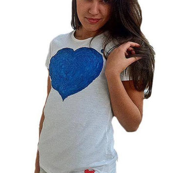 Heart T shirt Painted 3d Handmade Love MADE IN ITALY  multicolor HEART Customizable