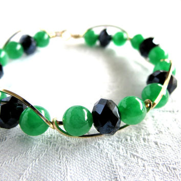 Glamorous Bangle, Statement Bracelet, Party, Jade, Black Crystals, 14 k Gold Filled, Handmade Jewelry, Wire Work, Gift Idea