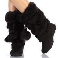 Super Furry Black Pom-pom Snow Winter Flat Boots