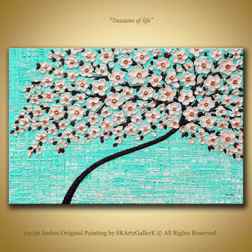 Cherry blossom Art Original Artwork Large Canvas Art Aqua Abstract art Large floral artwork Textured blossom art 24X36 Wall painting