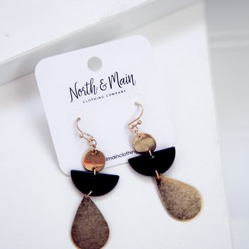 Vienna Drop Earrings, Black/Gold
