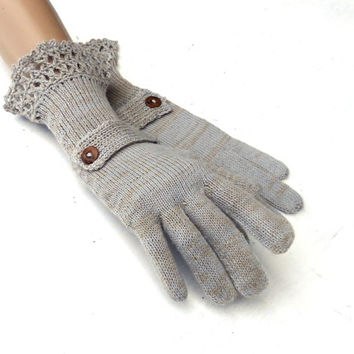 Knit fingers gloves, gloves with fingers,  gray brown  gloves, knitting arm warmers, colorful autumn gloves, handmade accessories, mittens
