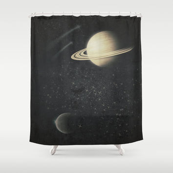 Deep Black Space Shower Curtain by DuckyB (Brandi)