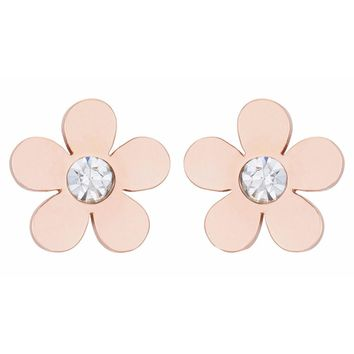 J Goodin Daisy 0.3ct CZ Rose Gold Stainless Steel Flower Stud Earrings