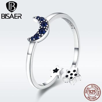 BISAER Anel 925 Sterling Silver Blue Moon And Star Adjustable Finger Rings for Women Sterling Silver Engagement Jewelry ECR437