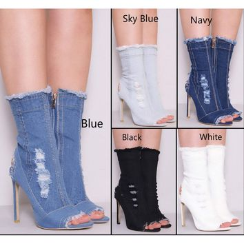 Women Boots Ankle Booties Peep-toe Cute Denim High Heel Shoes