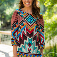 Rising Sun Blouse, Burgundy/Teal
