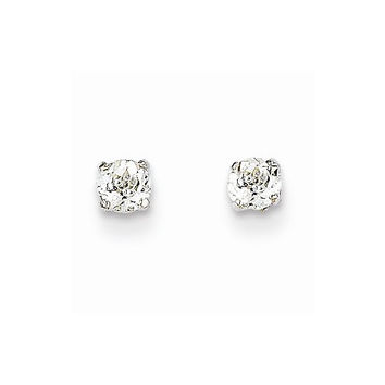 14k White Gold White Topaz Birthstone Earrings