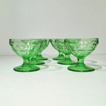 Green Depression Glass Block Optic Sherbet Cups, Set of 6, Block Optic Dessert Cups, Hocking Glass Green Block Optic Sherbet or Dessert Cups