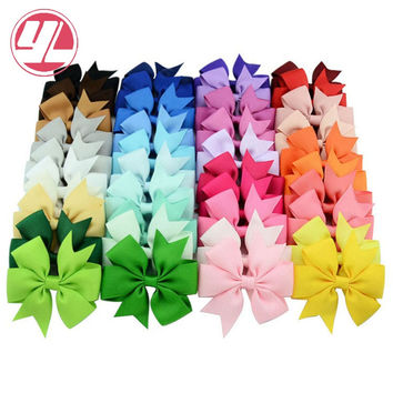 Mixcolor 40Pcs/lot  3 Inch Grosgrain Ribbon Hairpins  Girl Bows With Clip Hair Clips Kids Hair Accessories 564