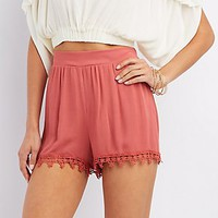 CROCHET-TRIM GAUZE SHORTS