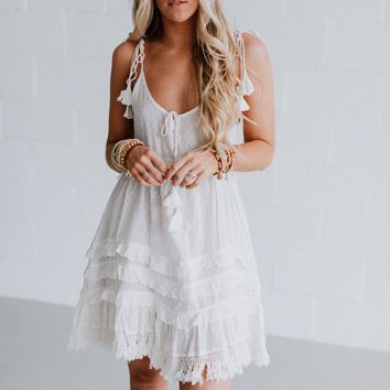 Wild Dreams Ruffle Dress - White