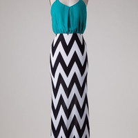 Chevron Bottom Solid Top Maxi Dress - Teal