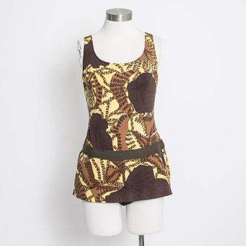 Vintage 1960s Bathing Suit - Brown Printed Nylon One Piece Swimsuit 60s - Small