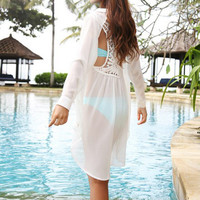 Chiffon Lace Patchwork Sexy Backless Shirt Long Sleeve Maxi Dress Rashguard [4970285060]