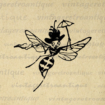 Printable Digital Bee with Hat and Umbrella Antique Download Image Graphic Vintage Clip Art for Transfers etc HQ 300dpi No.1725