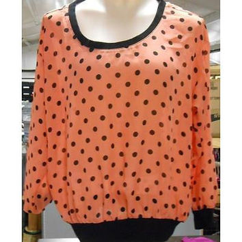 Women's Long Sleeve Sheer Polka Dot Blouse, Peach, Medium Allison Brittney