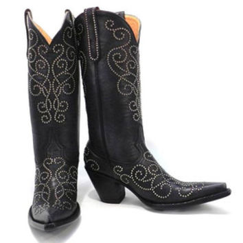 Cowboy Chief - Old Gringo Mia Stud L1198-1 Womens Black Boots 9.5 B STALL STOCK - Lucchese and Old Gringo Experts