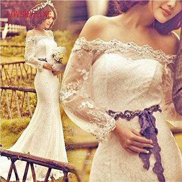 Princess bride 2017 slit neckline train wedding dress lace slim waist straps slim fish tail wedding dress