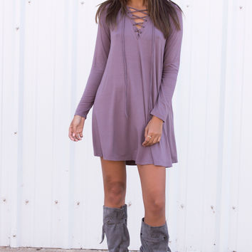 Netta Lace Up Dress - Mauve