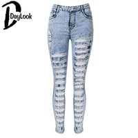 Dark Light Blue Solid High Waist Extreme Distressing Ripped Skinny Jeans Casual Hollow Out  Long Pants Holes