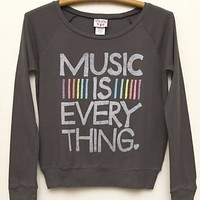 Kids Girls Music is Everything Long Sleeve Raglan - Kid's Girls New Arrivals - Long Sleeve - Junk Food Clothing