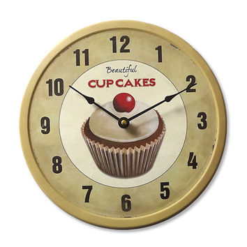 CUPCAKES Vintage Metallic Wall Clock 13.50x13.50 Inches