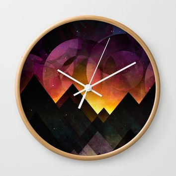 Whimsical mountain nights Wall Clock by HappyMelvin
