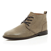River Island MensStone leather desert boots