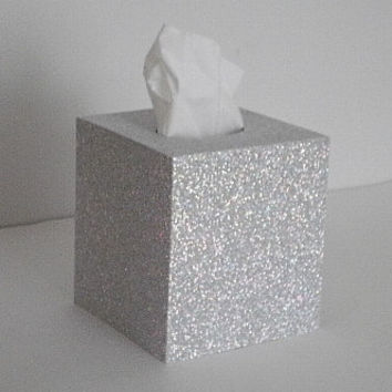 SILVER GLITTER Tissue Box Cover - Sparkling Decorative Square Cover