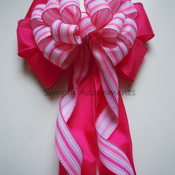 Pink White Birthday Party White and Pink Spring Wedding Church Pew Bow Shower Graduation Party Decoration Bow Gift Bow