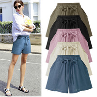 Womens Summer Drawstring Loose Shorts