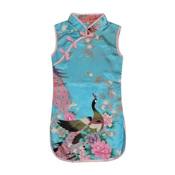 Retro Kids Baby Girls Sleeveless Chinese Peacock One-Piece Dress Cheongsam 2-8Y New Year Clothing Weeding Vestidos