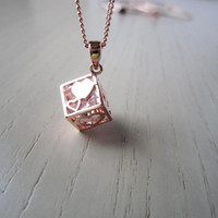 rose gold Square necklace,Carved love, heart ,loving gift,Square simple gold necklace,sweet necklace-perfect gift for you or friends
